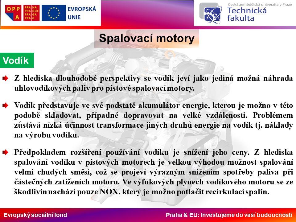 Evropský sociální fond Praha & EU: Investujeme do vaší budoucnosti Spalovací motory Vodík Z hlediska dlouhodobé perspektivy se vodík jeví jako jediná možná náhrada uhlovodíkových paliv pro pístové spalovací motory.