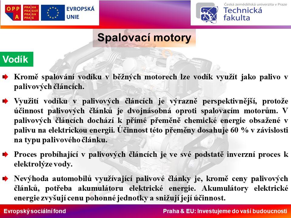 Evropský sociální fond Praha & EU: Investujeme do vaší budoucnosti Spalovací motory Vodík Kromě spalování vodíku v běžných motorech lze vodík využít jako palivo v palivových článcích.