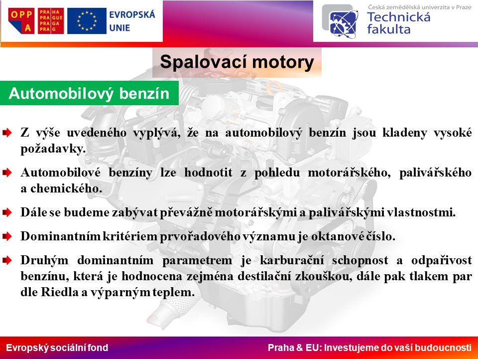 Evropský sociální fond Praha & EU: Investujeme do vaší budoucnosti Spalovací motory Automobilový benzín Z výše uvedeného vyplývá, že na automobilový benzín jsou kladeny vysoké požadavky.