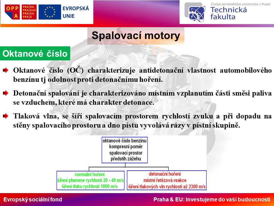 Evropský sociální fond Praha & EU: Investujeme do vaší budoucnosti Spalovací motory Oktanové číslo Oktanové číslo (OČ) charakterizuje antidetonační vlastnost automobilového benzínu tj odolnost proti detonačnímu hoření.