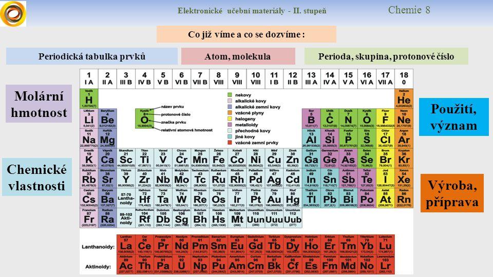 Elektronické učební materiály - II. stupeň Chemie 8 Co již víme a co se dozvíme : Chemické vlastnosti Periodická tabulka prvků Perioda, skupina, proto