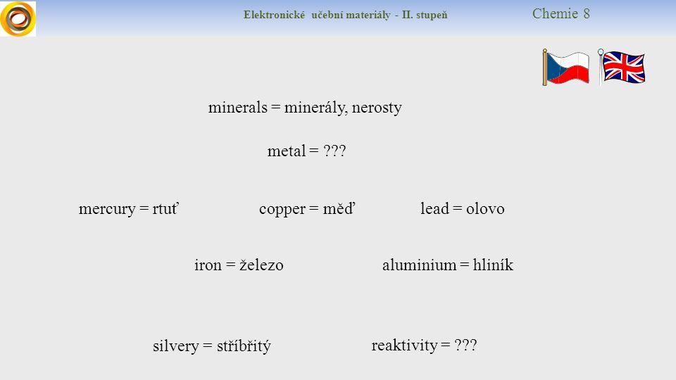 Elektronické učební materiály - II. stupeň Chemie 8 minerals = minerály, nerosty metal = ??? reaktivity = ??? lead = olovo silvery = stříbřitý mercury