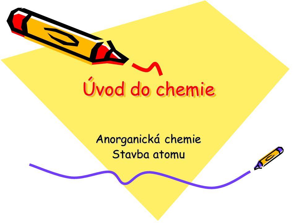 Úvod do chemie Anorganická chemie Stavba atomu