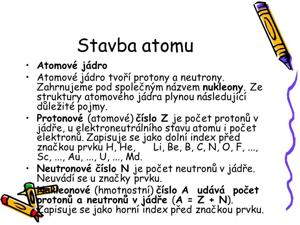 Stavba atomu Prvek je soubor atomů, které mají stejné Z, např.