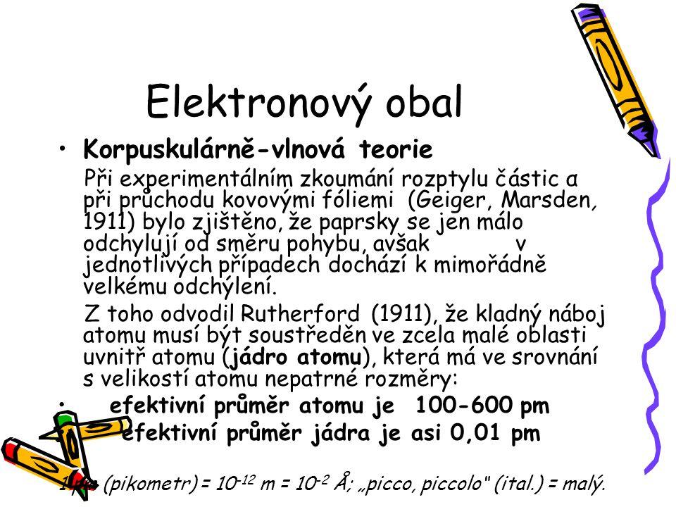 Elektronový obal Korpuskulárně-vlnová teorie Při experimentálním zkoumání rozptylu částic α při průchodu kovovými fóliemi (Geiger, Marsden, 1911) bylo zjištěno, že paprsky se jen málo odchylují od směru pohybu, avšak v jednotlivých případech dochází k mimořádně velkému odchýlení.