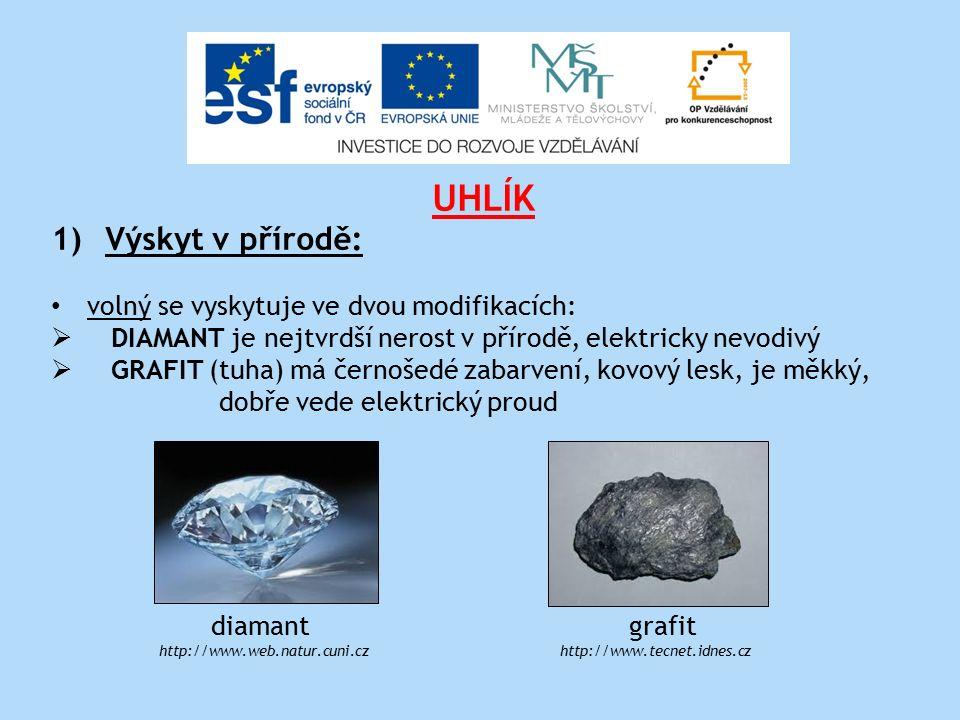 UHLÍK 1)Výskyt v přírodě: volný se vyskytuje ve dvou modifikacích:  DIAMANT je nejtvrdší nerost v přírodě, elektricky nevodivý  GRAFIT (tuha) má černošedé zabarvení, kovový lesk, je měkký, dobře vede elektrický proud diamant grafit http://www.web.natur.cuni.cz http://www.tecnet.idnes.cz