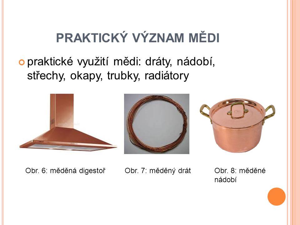 praktické využití mědi: dráty, nádobí, střechy, okapy, trubky, radiátory PRAKTICKÝ VÝZNAM MĚDI Obr.
