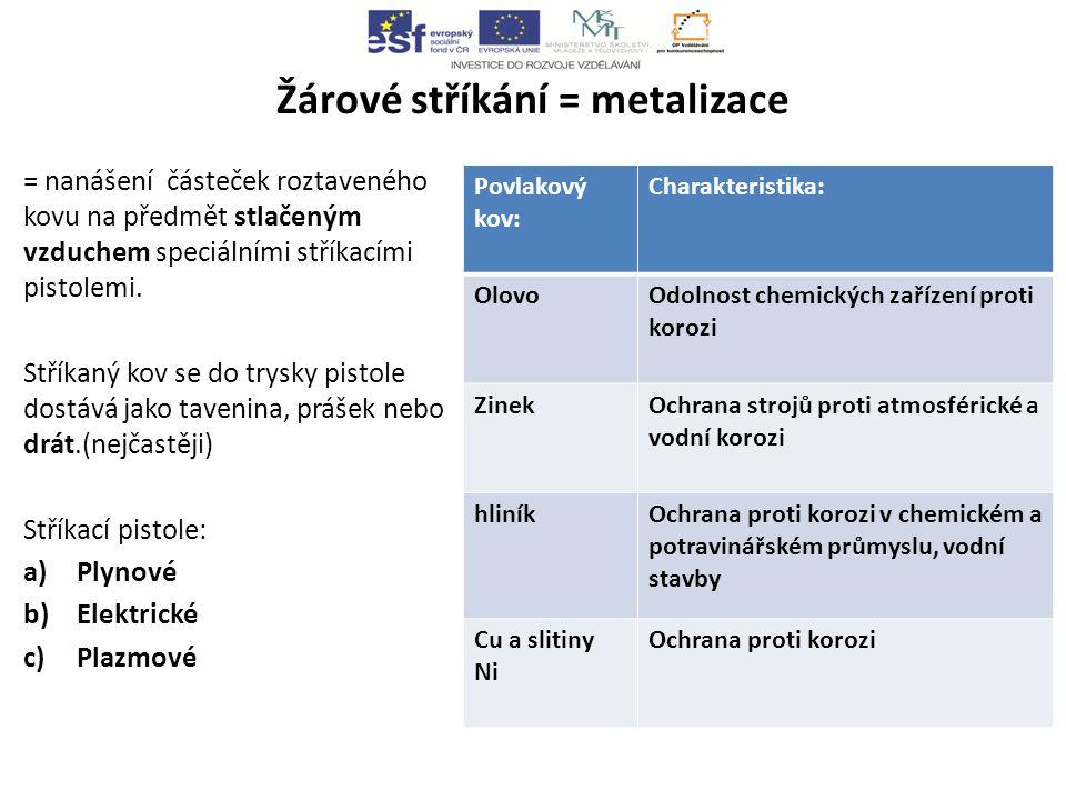 Žárové stříkání = metalizace = nanášení částeček roztaveného kovu na předmět stlačeným vzduchem speciálními stříkacími pistolemi.