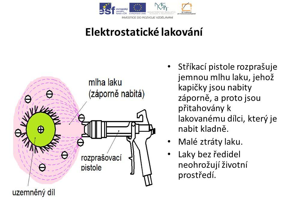 Elektrostatické lakování Stříkací pistole rozprašuje jemnou mlhu laku, jehož kapičky jsou nabity záporně, a proto jsou přitahovány k lakovanému dílci, který je nabit kladně.