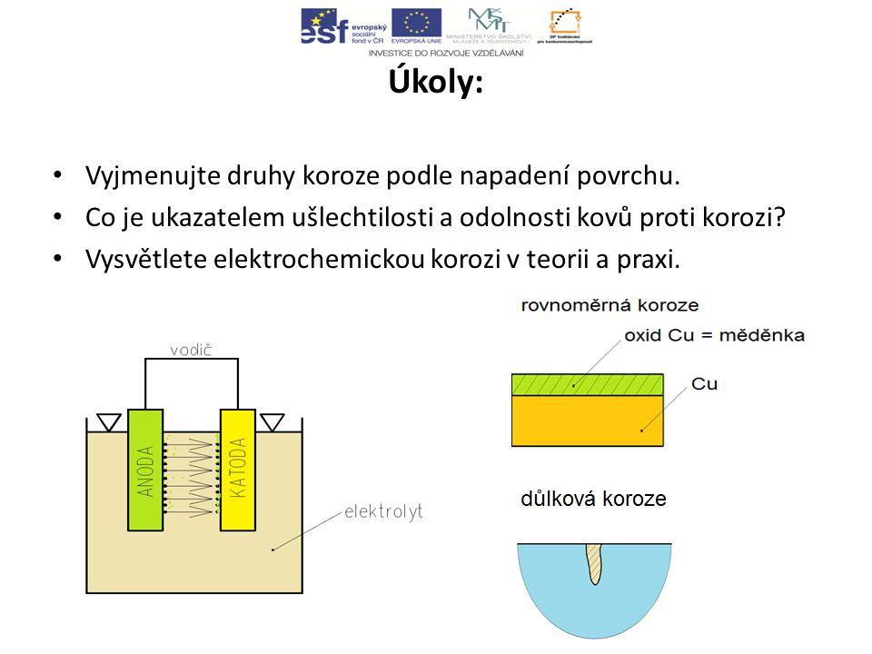 Úkoly: Vyjmenujte druhy koroze podle napadení povrchu.