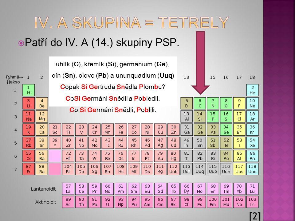  Patří do IV. A (14.) skupiny PSP. uhlík (C), křemík (Si), germanium (Ge), cín (Sn), olovo (Pb) a ununquadium (Uuq) Copak Si Gertruda Snědla Plombu?