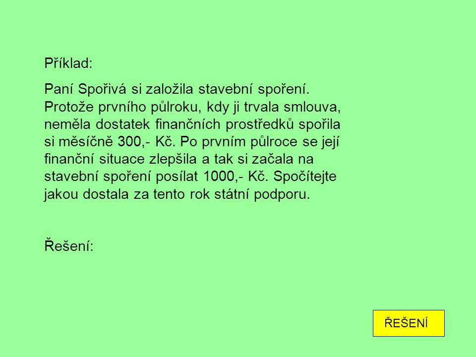 Příklad: Paní Spořivá si založila stavební spoření.