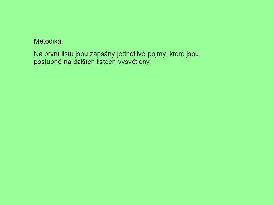 Metodika: Na první listu jsou zapsány jednotlivé pojmy, které jsou postupně na dalších listech vysvětleny.