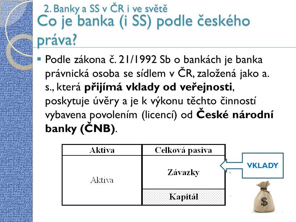 14 2. Banky a SS v ČR i ve světě Co je banka (i SS) podle českého práva.