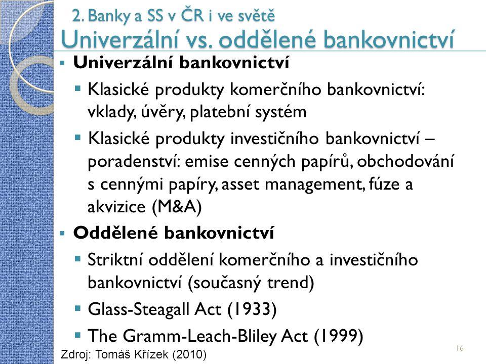 16 2. Banky a SS v ČR i ve světě Univerzální vs.