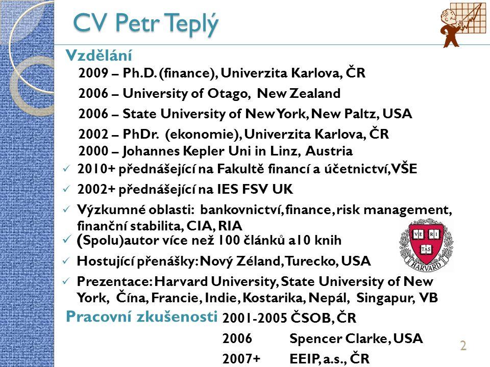 CV Petr Teplý 2 2000 – Johannes Kepler Uni in Linz, Austria 2009 – Ph.D.