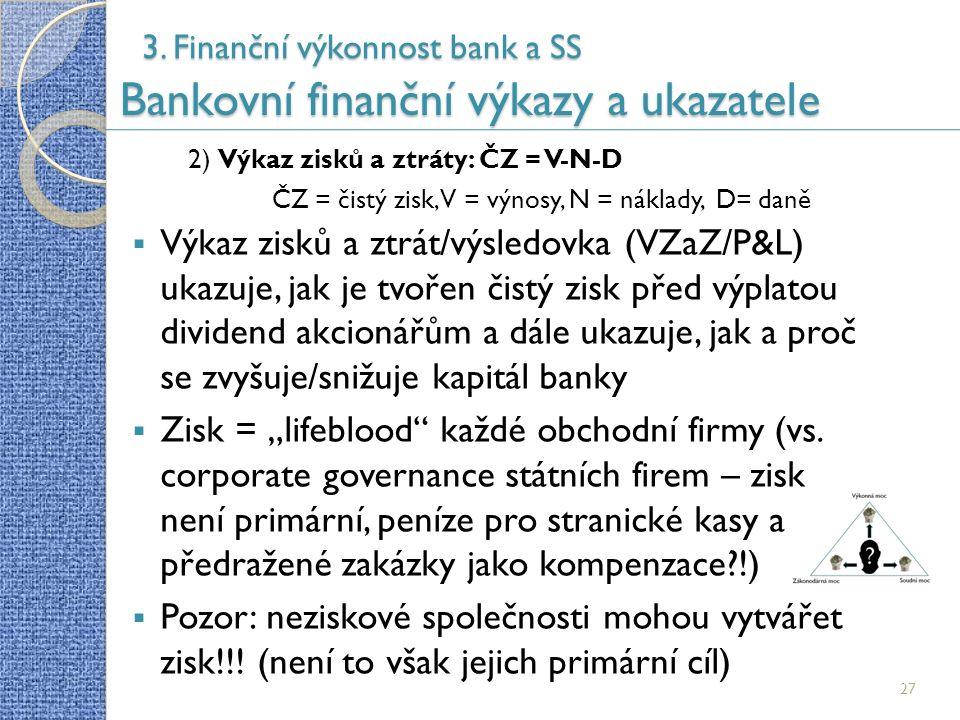 3. Finanční výkonnost bank a SS Bankovní finanční výkazy a ukazatele 27 2) Výkaz zisků a ztráty: ČZ = V-N-D ČZ = čistý zisk, V = výnosy, N = náklady,