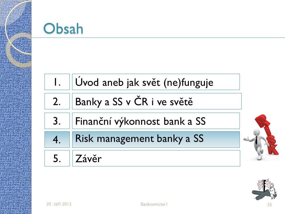 Obsah Úvod aneb jak svět (ne)funguje 1.1. Banky a SS v ČR i ve světě 2.2.