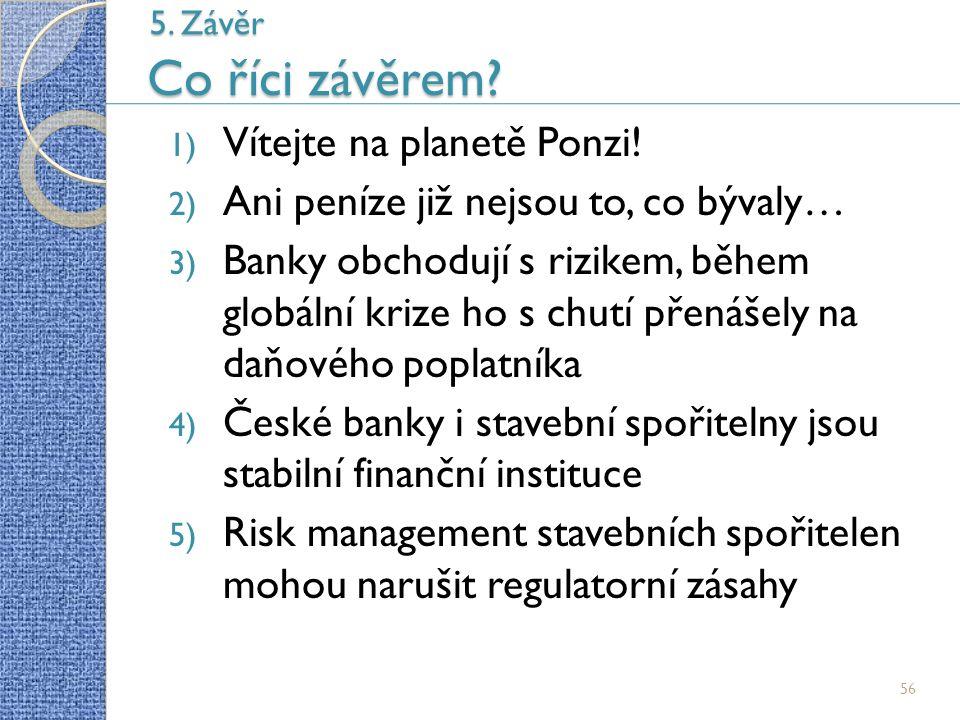 56 5. Závěr Co říci závěrem. 1) Vítejte na planetě Ponzi.