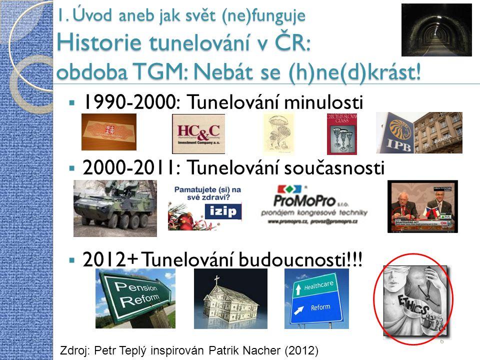 1. Úvod aneb jak svět (ne)funguje Historie tu nelování v ČR: obdoba TGM: Nebát se (h)ne(d)krást.