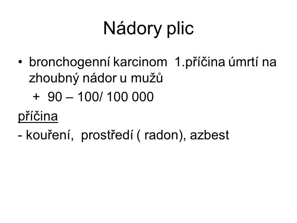 Nádory plic bronchogenní karcinom 1.příčina úmrtí na zhoubný nádor u mužů + 90 – 100/ 100 000 příčina - kouření, prostředí ( radon), azbest