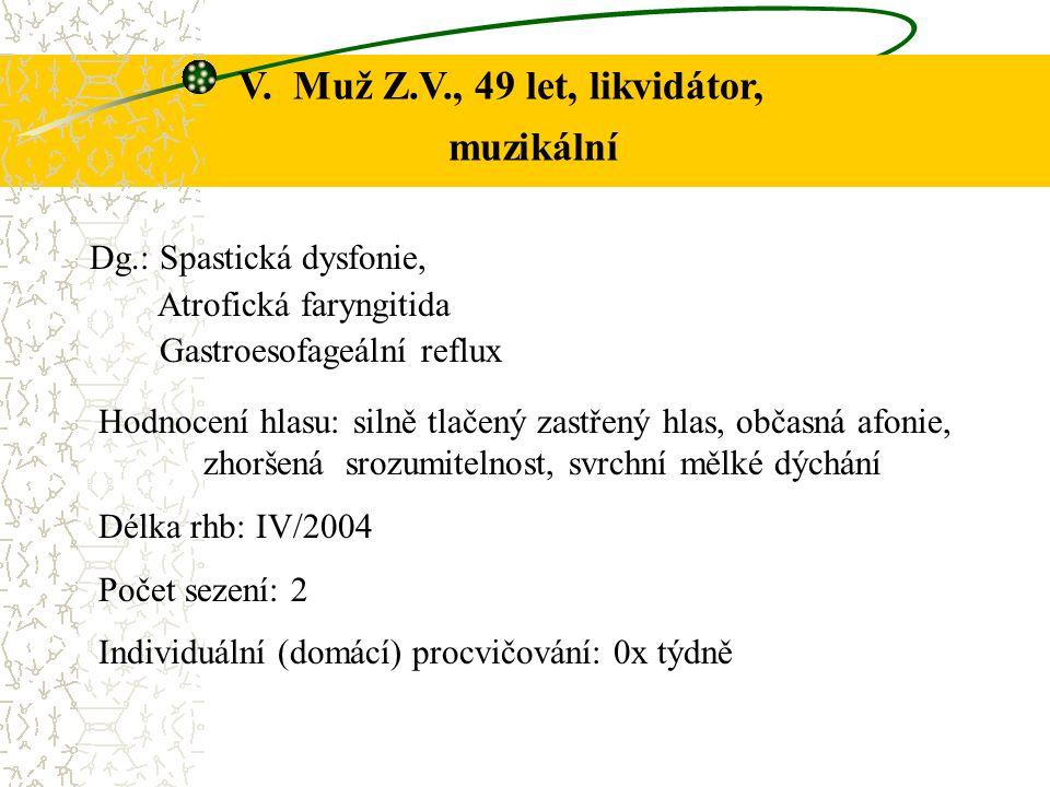 Dg.: Spastická dysfonie, Atrofická faryngitida Gastroesofageální reflux Hodnocení hlasu: silně tlačený zastřený hlas, občasná afonie, zhoršená srozumitelnost, svrchní mělké dýchání Délka rhb: IV/2004 Počet sezení: 2 Individuální (domácí) procvičování: 0x týdně V.