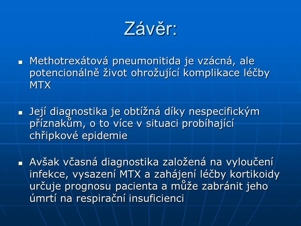 Závěr: Methotrexátová pneumonitida je vzácná, ale potencionálně život ohrožující komplikace léčby MTX Methotrexátová pneumonitida je vzácná, ale potencionálně život ohrožující komplikace léčby MTX Její diagnostika je obtížná díky nespecifickým příznakům, o to více v situaci probíhající chřipkové epidemie Její diagnostika je obtížná díky nespecifickým příznakům, o to více v situaci probíhající chřipkové epidemie Avšak včasná diagnostika založená na vyloučení infekce, vysazení MTX a zahájení léčby kortikoidy určuje prognosu pacienta a může zabránit jeho úmrtí na respirační insuficienci Avšak včasná diagnostika založená na vyloučení infekce, vysazení MTX a zahájení léčby kortikoidy určuje prognosu pacienta a může zabránit jeho úmrtí na respirační insuficienci