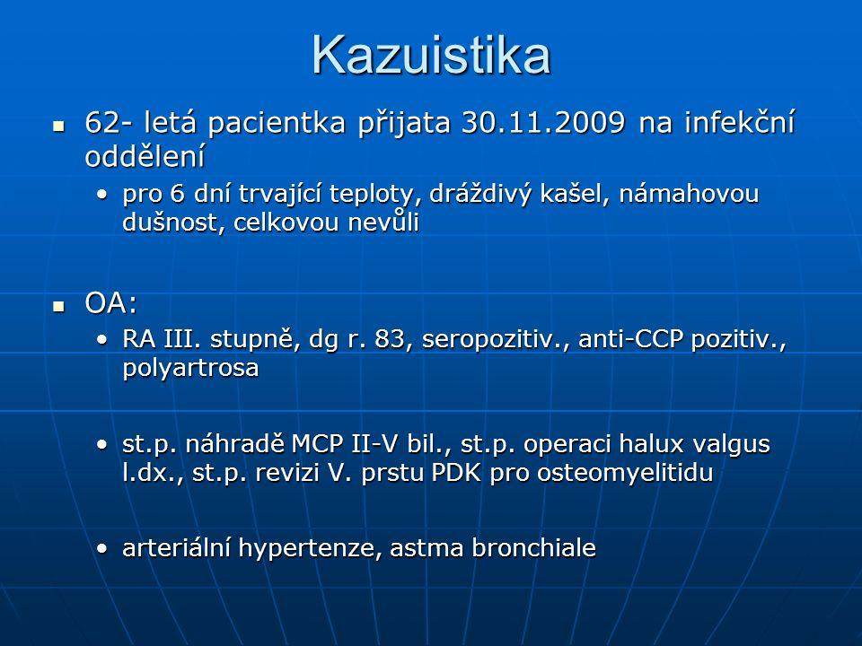 Kazuistika 62- letá pacientka přijata 30.11.2009 na infekční oddělení 62- letá pacientka přijata 30.11.2009 na infekční oddělení pro 6 dní trvající teploty, dráždivý kašel, námahovou dušnost, celkovou nevůlipro 6 dní trvající teploty, dráždivý kašel, námahovou dušnost, celkovou nevůli OA: OA: RA III.
