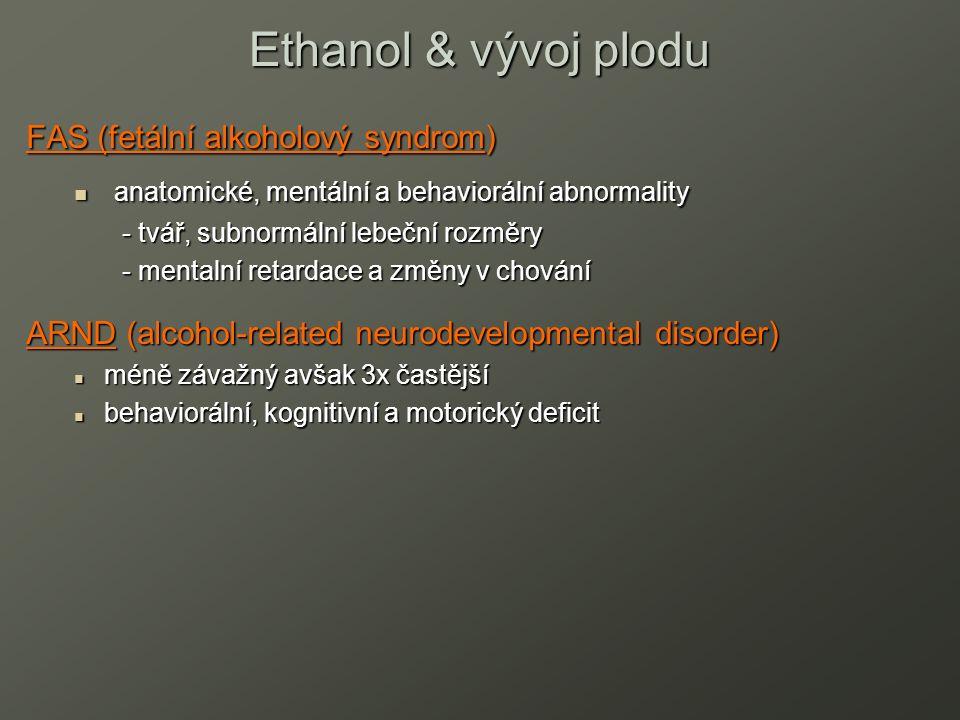 FAS (fetální alkoholový syndrom) anatomické, mentální a behaviorální abnormality anatomické, mentální a behaviorální abnormality - tvář, subnormální lebeční rozměry - mentalní retardace a změny v chování ARND (alcohol-related neurodevelopmental disorder) méně závažný avšak 3x častější méně závažný avšak 3x častější behaviorální, kognitivní a motorický deficit behaviorální, kognitivní a motorický deficit Ethanol & vývoj plodu