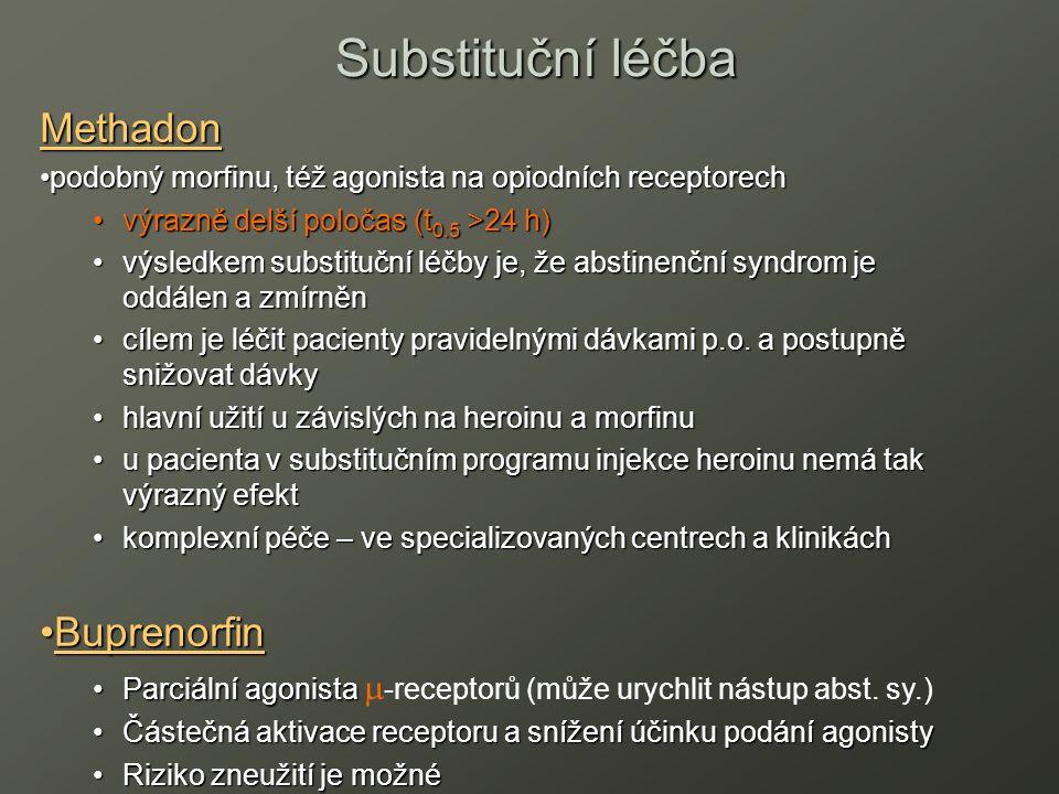 Methadon podobný morfinu, též agonista na opiodních receptorechpodobný morfinu, též agonista na opiodních receptorech výrazně delší poločas (t 0.5 >24 h)výrazně delší poločas (t 0.5 >24 h) výsledkem substituční léčby je, že abstinenční syndrom je oddálen a zmírněnvýsledkem substituční léčby je, že abstinenční syndrom je oddálen a zmírněn cílem je léčit pacienty pravidelnými dávkami p.o.