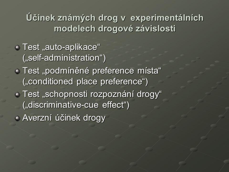 """Účinek známých drog v experimentálních modelech drogové závislosti Test """"auto-aplikace (""""self-administration ) Test """"podmíněné preference místa (""""conditioned place preference ) Test """"schopnosti rozpoznání drogy (""""discriminative-cue effect ) Averzní účinek drogy"""