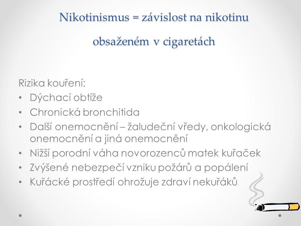 Nikotinismus = závislost na nikotinu obsaženém v cigaretách Nikotinismus = závislost na nikotinu obsaženém v cigaretách Rizika kouření: Dýchací obtíže Chronická bronchitida Další onemocnění – žaludeční vředy, onkologická onemocnění a jiná onemocnění Nižší porodní váha novorozenců matek kuřaček Zvýšené nebezpečí vzniku požárů a popálení Kuřácké prostředí ohrožuje zdraví nekuřáků