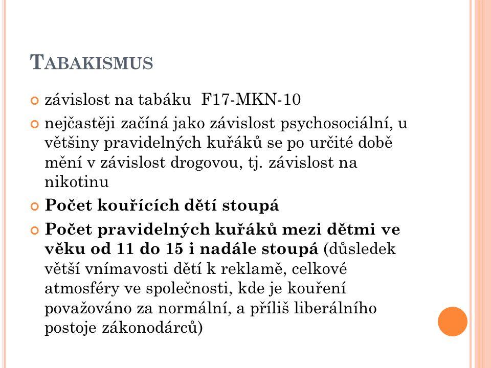 T ABAKISMUS závislost na tabáku F17-MKN-10 nejčastěji začíná jako závislost psychosociální, u většiny pravidelných kuřáků se po určité době mění v závislost drogovou, tj.
