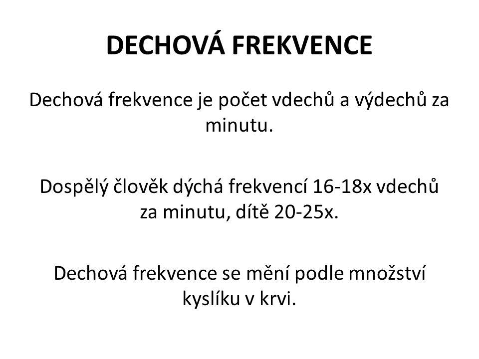 DECHOVÁ FREKVENCE Dechová frekvence je počet vdechů a výdechů za minutu. Dospělý člověk dýchá frekvencí 16-18x vdechů za minutu, dítě 20-25x. Dechová