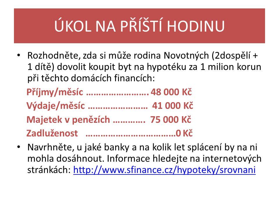 ÚKOL NA PŘÍŠTÍ HODINU Rozhodněte, zda si může rodina Novotných (2dospělí + 1 dítě) dovolit koupit byt na hypotéku za 1 milion korun při těchto domácích financích: Příjmy/měsíc …………………….