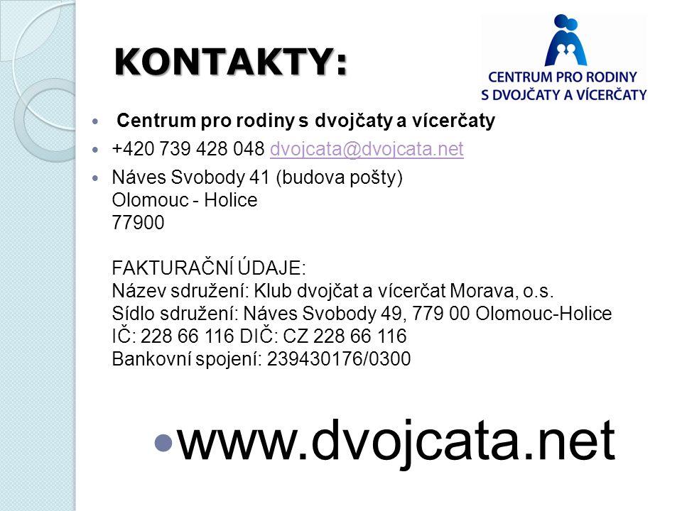 Centrum pro rodiny s dvojčaty a vícerčaty +420 739 428 048 dvojcata@dvojcata.netdvojcata@dvojcata.net Náves Svobody 41 (budova pošty) Olomouc - Holice