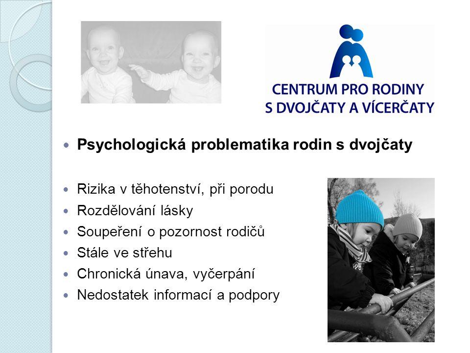 Psychologická problematika rodin s dvojčaty Rizika v těhotenství, při porodu Rozdělování lásky Soupeření o pozornost rodičů Stále ve střehu Chronická