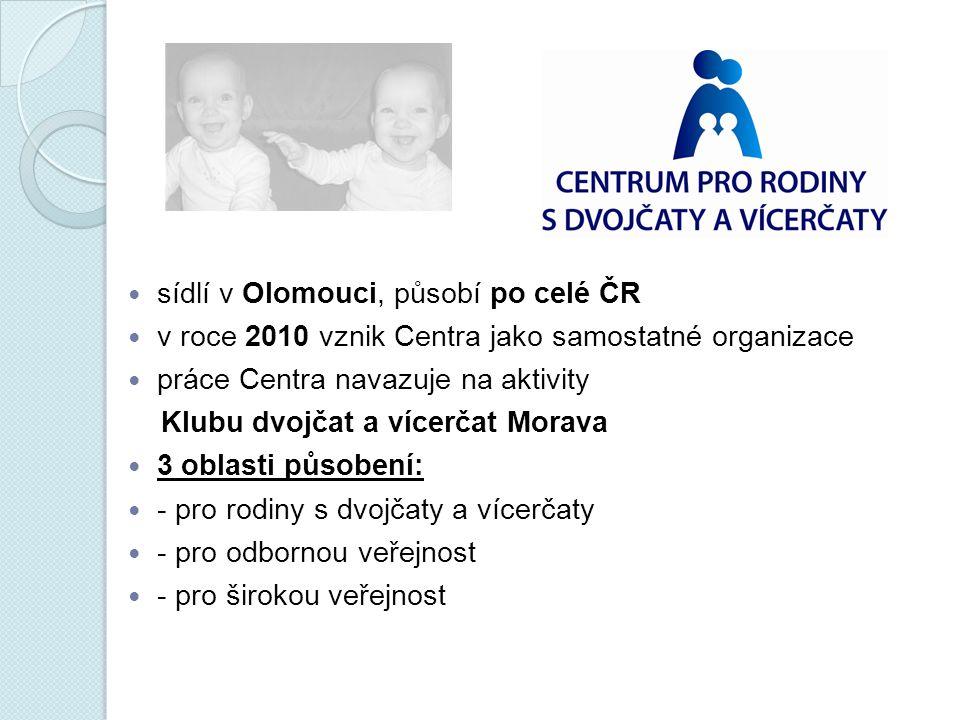 sídlí v Olomouci, působí po celé ČR v roce 2010 vznik Centra jako samostatné organizace práce Centra navazuje na aktivity Klubu dvojčat a vícerčat Mor