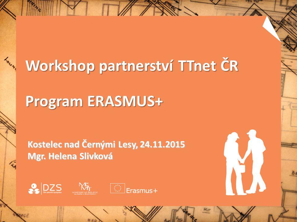 Workshop partnerství TTnet ČR Program ERASMUS+ Kostelec nad Černými Lesy, 24.11.2015 Mgr. Helena Slivková