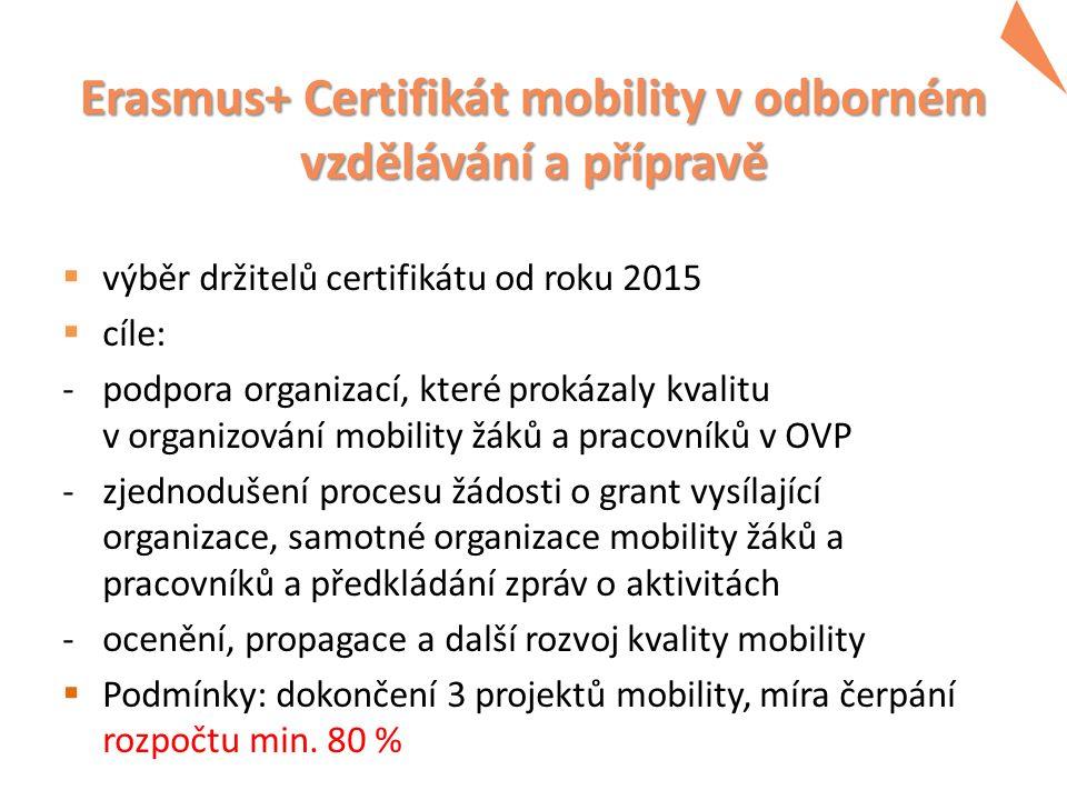 Erasmus+ Certifikát mobility v odborném vzdělávání a přípravě  výběr držitelů certifikátu od roku 2015  cíle: -podpora organizací, které prokázaly k
