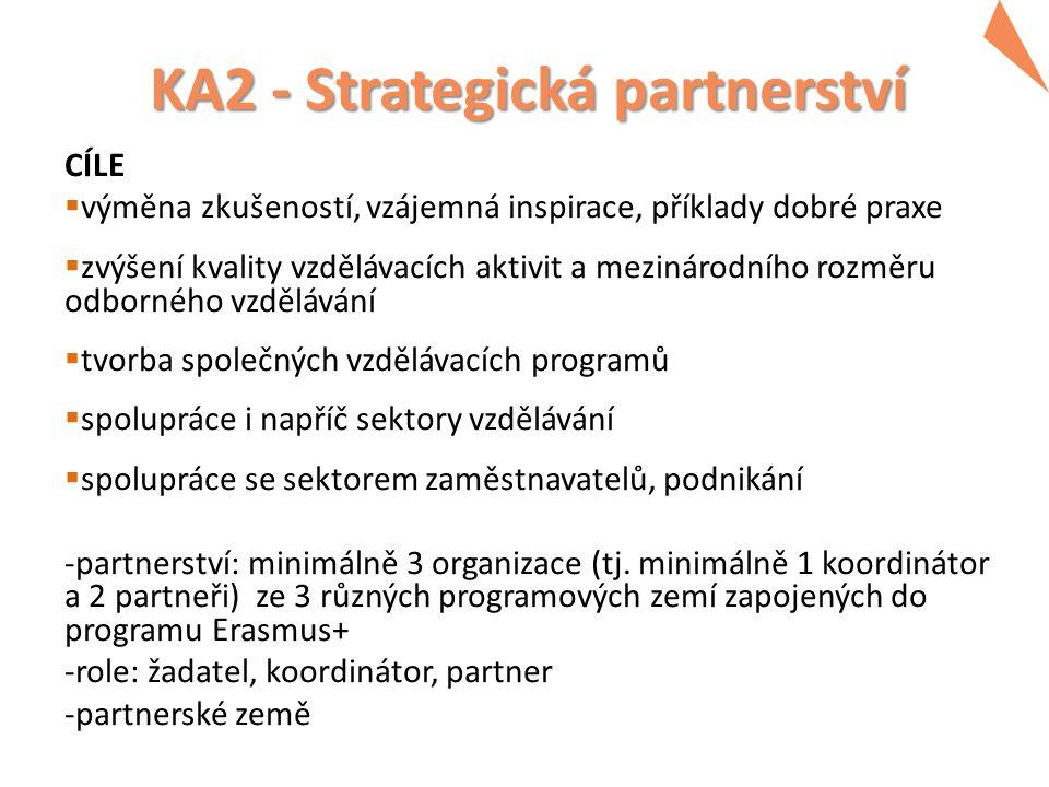 KA2 - Strategická partnerství CÍLE  výměna zkušeností, vzájemná inspirace, příklady dobré praxe  zvýšení kvality vzdělávacích aktivit a mezinárodníh