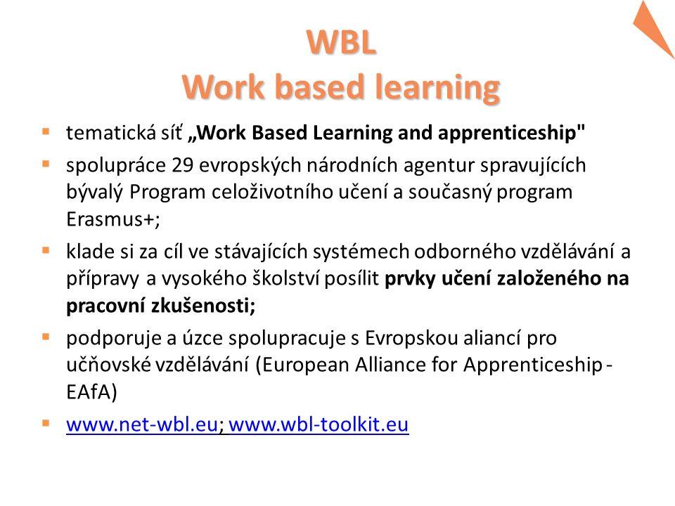 "WBL Work based learning  tematická síť ""Work Based Learning and apprenticeship"