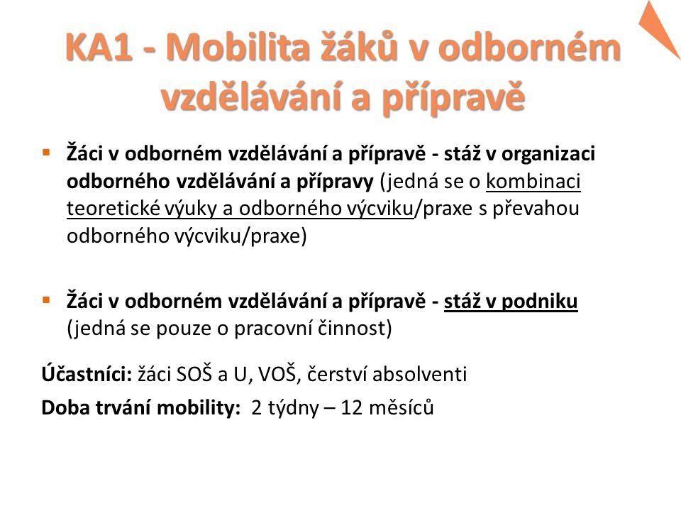 KA1 - Mobilita žáků v odborném vzdělávání a přípravě  Žáci v odborném vzdělávání a přípravě - stáž v organizaci odborného vzdělávání a přípravy (jedn