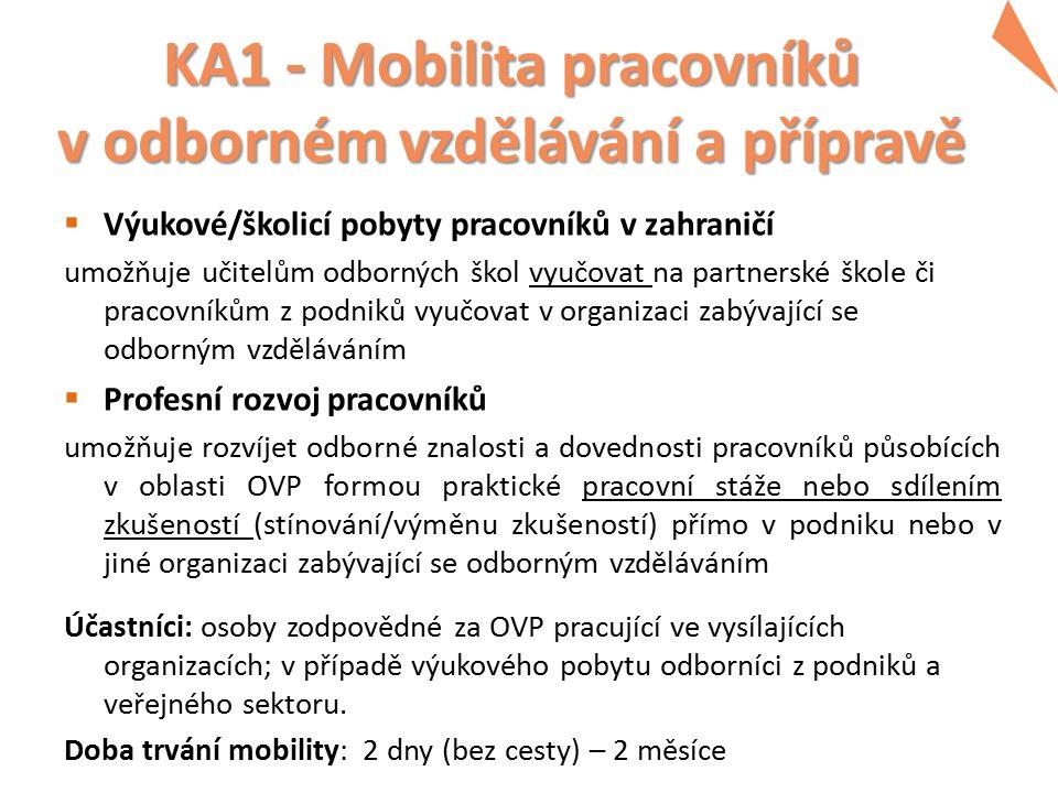 KA1 - Mobilita pracovníků v odborném vzdělávání a přípravě  Výukové/školicí pobyty pracovníků v zahraničí umožňuje učitelům odborných škol vyučovat n