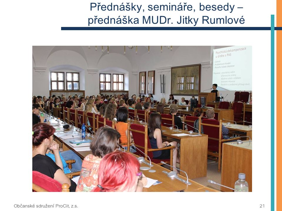 Přednášky, semináře, besedy – přednáška MUDr. Jitky Rumlové Občanské sdružení ProCit, z.s. 21