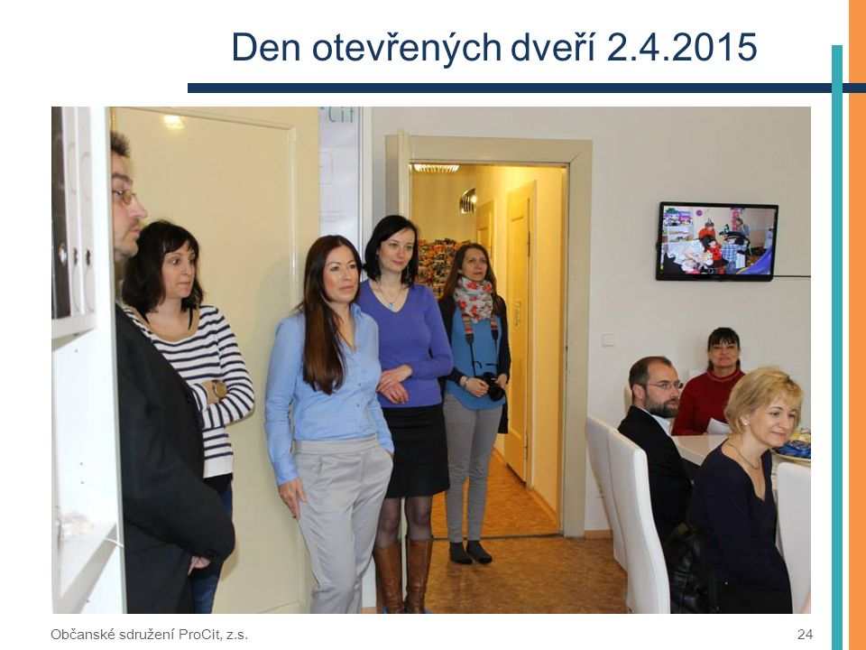 Den otevřených dveří 2.4.2015 Občanské sdružení ProCit, z.s. 24