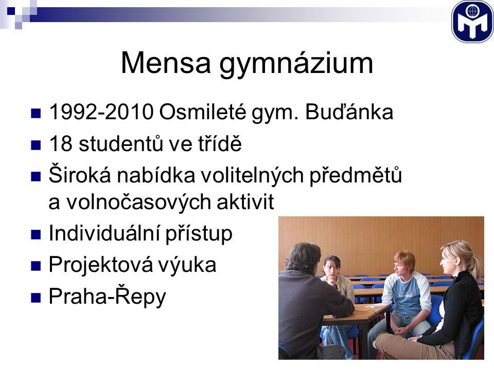 Mensa gymnázium 1992-2010 Osmileté gym. Buďánka 18 studentů ve třídě Široká nabídka volitelných předmětů a volnočasových aktivit Individuální přístup