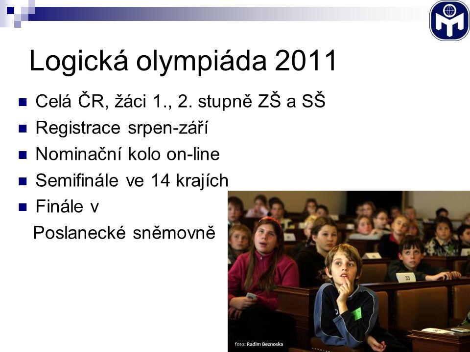Logická olympiáda 2011 Celá ČR, žáci 1., 2. stupně ZŠ a SŠ Registrace srpen-září Nominační kolo on-line Semifinále ve 14 krajích Finále v Poslanecké s