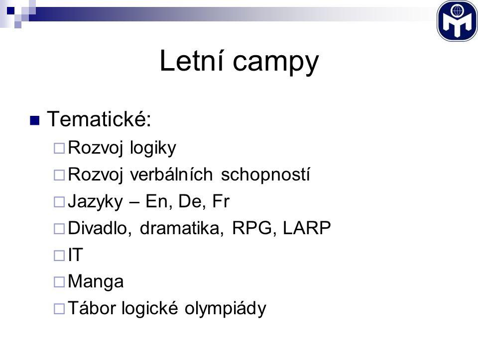 Letní campy Tematické:  Rozvoj logiky  Rozvoj verbálních schopností  Jazyky – En, De, Fr  Divadlo, dramatika, RPG, LARP  IT  Manga  Tábor logické olympiády