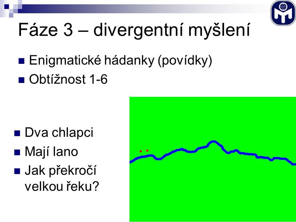 Fáze 3 – divergentní myšlení Enigmatické hádanky (povídky) Obtížnost 1-6 Dva chlapci Mají lano Jak překročí velkou řeku?